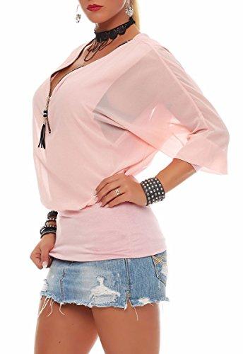 Malito Damen Bluse IM Fledermaus Look   Tunika mit Zipper   Kurzarm Blusenshirt mit Breitem Bund   Elegant �?Shirt 6297 Rosa