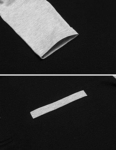 Burlady Tshirt Henleyshirt Langarmshirt mit Knopf Basic Longsleeve Shirt mit Henley Ausschnitt Herren 2 in 1 Sport Langarm Shirts Freizeit Männer 72-Schwarz