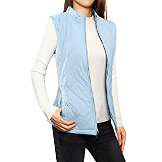 Allegra K Women's Stand Collar Zippered Quilted Padded Vest Baby Blue L