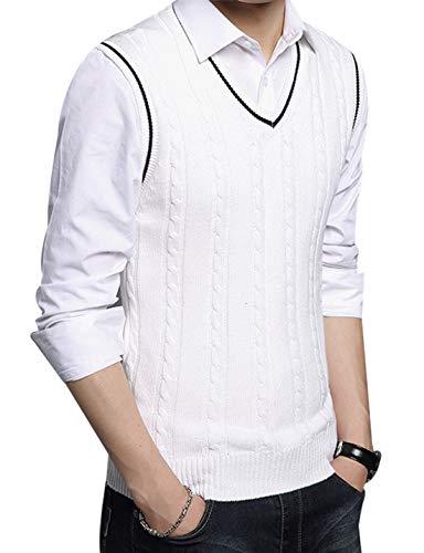 FEOYA - Chaleco de Punto para Hombre Suéter Jersey sin Mangas de Lana para Primavera Otoño - Blanco - Talla S