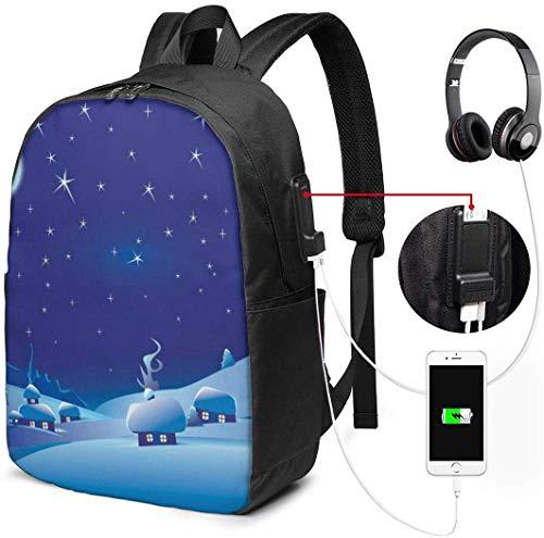 Snowhouse Moon Stars College Rucksack Student Bookbag Laptop Busin Rucksack mit USB-Ladeanschluss School Daypack