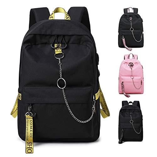 FEDUAN Campus Rucksack Schultasche Schulrucksack Studententasche Laptop-Rucksäcke mit USB/Kopfhörer Anschluss Tagesrucksack modisch Reiserucksack Mädchen Jungen Teenager groß 18L (M2 schwarz-Gold)