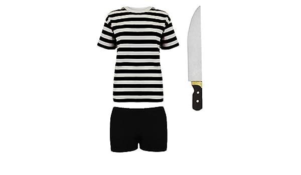Halloween Pugsley Addams Fancy Dress Childrens Costume Stripe T shirt Shorts