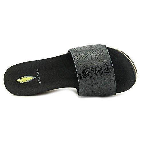 Volatile Emboss Leder Sandale Black