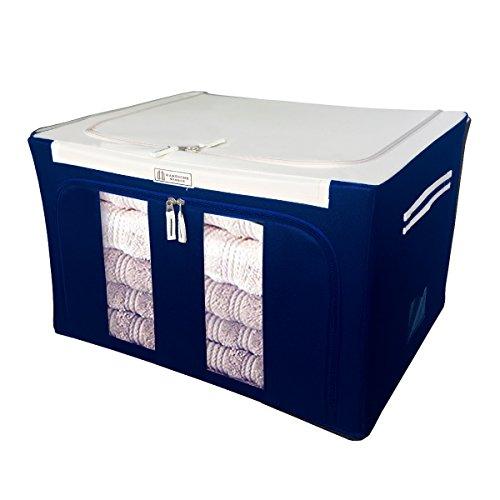 Scatola di stoccaggio vestiti borsa 68l tessuto oxford impermeabile supporto per telaio in acciaio durevole pieghevole box organizzatore deposito per trapunte, coperta, vestiti con chiusura a cerniera e maniglie (52x40x32cm,lxwxh) - blu