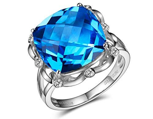 Amdxd gioielli anello di fidanzamento per donna oro 18 carati cavo piazza topazio anelli argento dimensione 15