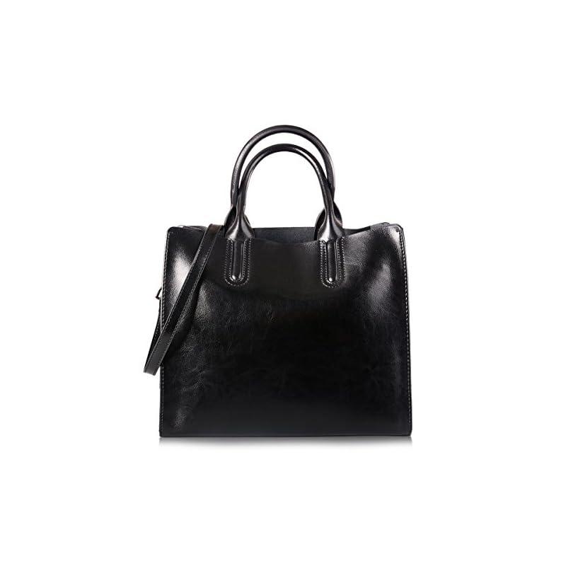 AB Earth Women Real Leather Cow Handbags Designer Office Ladies 3 Sections Zip Tote Shoulder Crossbody Handbags Hobo…