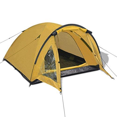 Festnight Tragbar 3-Personen Zelt Trekkingzelt Campingzelt mit Tragetasche für Wandern Camping Picknick - Gelb