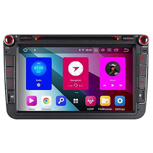Android 9.0 8 Zoll 48GB Speichern+4GB RAM Octa Kern Autoradio Navigation DVD GPS für VW Passat Golf 5 6 Touran Tiguan Multivan T5 Polo Jetta Caddy Skoda Seat Altea DAB+ WiFi 4G OBD2 Mirrorllink