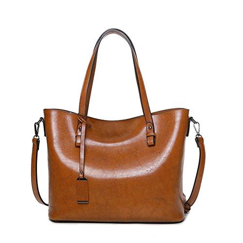 YAAGLE Damen Ledertasche weich Tote Beutel Handtasche Wasserdicht Schultertasche Umhängetasche (Handtaschen Cognac Stoff)