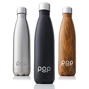 POP Botella de Agua Design | Mantiene Bebidas frías por 24h y Calientes por 12h. | Acero Inoxidable con Aislamiento en vacío | Tapón Anti Goteo y Anti Sudor | Boquilla Estrecha y Libre de BPA
