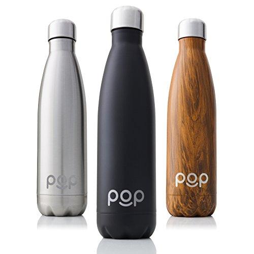 POP Botella de Agua Design | Mantiene Bebidas frías por 24h y Calientes por 12h. | Acero Inoxidable con Aislamiento en vacío | Tapón Anti Goteo y Anti Sudor | 500 ML | Onyx