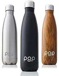 POP Bottiglia per Acqua Design | Mantiene Il Freddo per 24 Ore e Il Caldo per 12 Ore | Acciaio Inox Isolamento a Vuoto | Antigoccia e anticondensa | Collo Stretto e priva di BPA | 740 ml | Onice