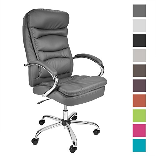 TPFLiving Premium XXL Bürostuhl Chefsessel Schreibtischstuhl Queens grau belastbar bis 210 kg hochwertig bequem Kunstleder Fixier- und Wippfunktion Stabile Castor Rollen in 10 Farben wählbar