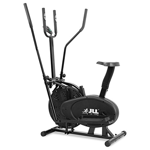 JLL 2-in-1 Elliptical Cross Trainer Exercise Bike CT100, Fitness Cardio Workout Machine-With Seat + Pulse Heart Rate Sensors, Console Display, 5-level seat adjust and 4-level handlebar adjust. Black colour