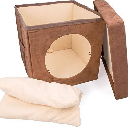 Kitty Zen Den Cat Hideaway – Se recomienda utilizar como una cómoda cama cubierta para gatos,cálida esterilla y cama para gatos. 100 % suave y adecuado para mascotas – Conexión con túnel para gatos. Marrón