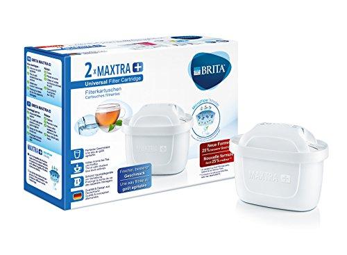 BRITA Filterkartuschen MAXTRA+ im 2er Pack - Kartuschen für alle BRITA Wasserfilter zur Reduzierung von Kalk, Chlor & geschmacksstörenden Stoffen im Leitungswasser (Bosch Kaffeemaschine-wasser-filter)