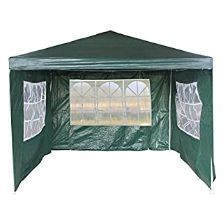 4pcs Removable Side Walls&Door for Rustproof Frame Steel 3m x 4m Folding Gazebo Fullly Waterproof Marquee Party Tent Wedding Water Resistant Awning Canopy for Outdoor Party Garden Family Day- Green