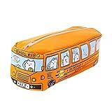Bus Federmäppchen,Leinwand Bleistift Tasche Zipper Design,Stationery Mäppchen Münzfach Make-Up Tasche,Cartoon Canvas Bleistift und Schreibwaren Organizer Tasche 20 * 7 * 6cm(Orange)
