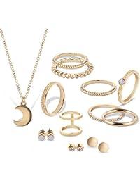 Bobury Forma Luna Forma de múltiples Collar de Colgantes Anillos Diamante Pendiente del Perno Oro/