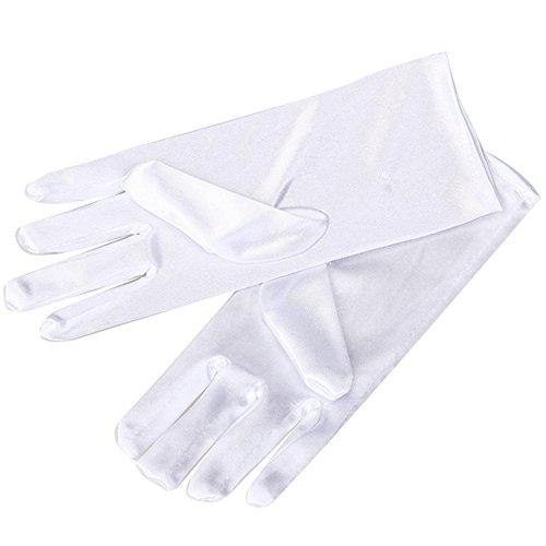 celldeal Damen Kurz Glatt Satin Handgelenk Handschuhe Großartig Für Hochzeit Abend Abschlussball Gr. One size, elfenbeinfarben (Damen Handschuhe Abend)