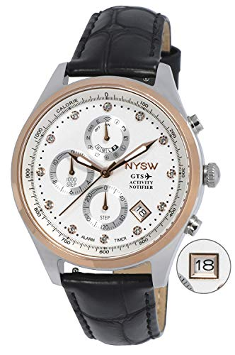 NYSW   Reloj Inteligente híbrido con Cristales de Swarovski, Hermoso Cristal de Zafiro, Calendario perpetuo, Impresionante Segunda Mano y más (TC-TS-02)