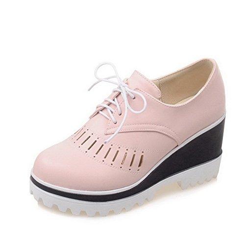 VogueZone009 Damen Rund Zehe Hoher Absatz Weiches Material Schnüren Pumps Schuhe Pink