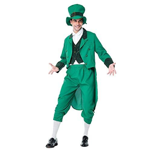 Kostüm Boy Balloon - Mymyguoe St Patrick's Day Herren Herbst Winter Solide Langarm Outwear Hut Tops Hosen Sets Anzug Trainingsanzug Grün