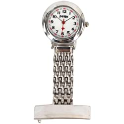 PELEX Metal Silver Coloured Nurse Watch Doctor Paramedic Tunic Brooch Watch Men's & Ladies