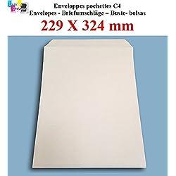 lot de 50 Grande enveloppe pochette courrier A4 - C4 papier kraft blanc 90g format 229 x 324 mm une enveloppe blanche avec fermeture bande adhésive autocollante siliconnée
