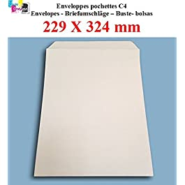 20 Grande A4 busta posta busta – C4 carta bianca formato 90g 229 x 324 mm busta bianca
