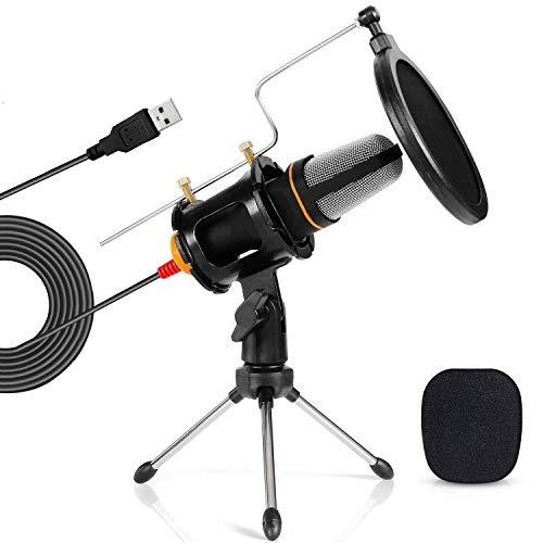 TONOR PC Mikrofon Kit, Tischstativ und Popfilter, Podcast Aufnahme Microphone für PC, Laptop-Gaming, Singen, YouTube, Skype, Einfaches Plug and Play Mikrofon Sets Schwarz (Mikrofon-schlagzeug-set)