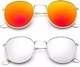 Younky Combo Of UV Protected Wayfarer Mercury Unisex Sunglasses (YNSS_GM-SM, Silver, Medium, 55mm) - 2 Sunglass Case