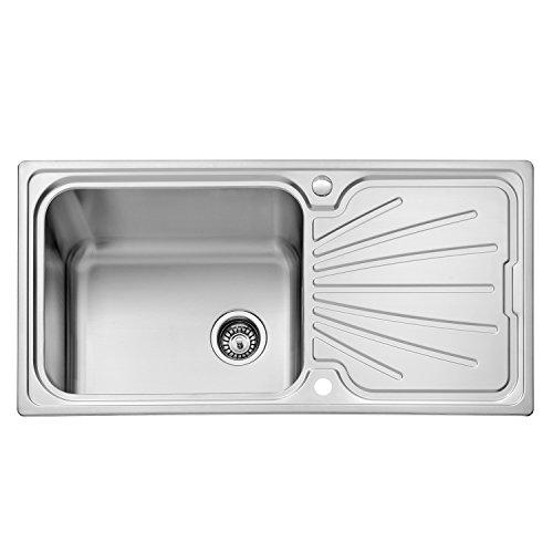 Fregadero de cocina de JASS FERRY, de acero inoxidable, cubeta de gran tamaño, escurridor reversible y filtro de desagüe