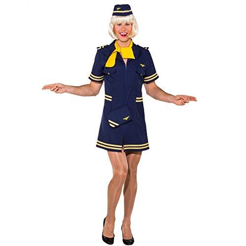Männerballett Kostüm Stewardess Gr. 50/52 Kleid Haube blau Fasching Flugbegleiterin (50/52)