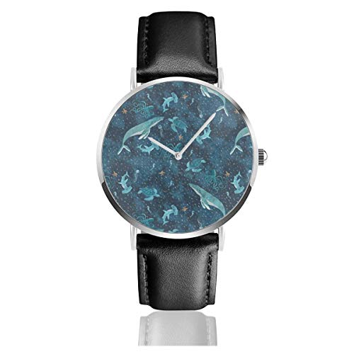 Business Analog Watches,Deep Blue Sea with Whales,Classic Stainless Steel Quartz Waterproof Wrist Watch with Leather Strap -