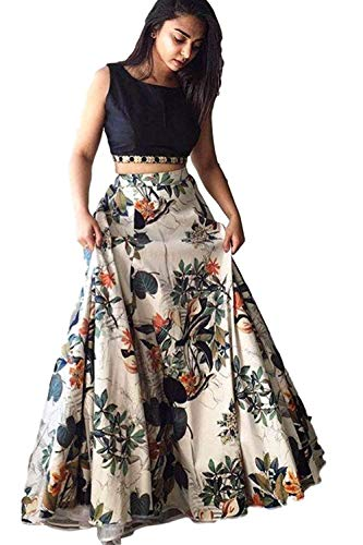 Clickedia Women\'s Cotton Silk Lehenga Choli With Blouse Piece_Black white floral_Free Size