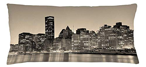New York Throw Pillow Cushion Cover, Manhattan Skyline at Night East River Panoramic Famous City Urban Life in USA, Decorative Square Accent Pillow Case, 18 X 18 inches, Sepia Black (Party City In Manhattan, New York)