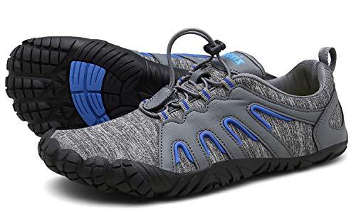Voovix Herren Damen Barfußschuhe Fitnessschuhe Laufschuhe Minimalistische Traillaufschuhe Trekkingschuhe Wanderschuhe Outdoor Sneaker im Sommer Grau/Blau38