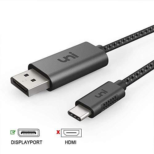 Uni USB C zu DisplayPort-Kabel (4K @ 60Hz), Thunderbolt 3 zu DisplayPort-Kabel, kompatibel für MacBook Pro 2018/2017, MacBook Air/iPad Pro 2018, XPS 15, Surface Book 2 und mehr, 1,8 m-nicht HDMI