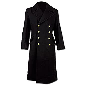 Black Full Length Double Brested Naval Great Coat (34 inch)