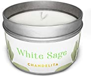 Chandelita White Sage Scented Aromatic Candle for Blessing and Ambient Energy with Soy Wax for Purification, R