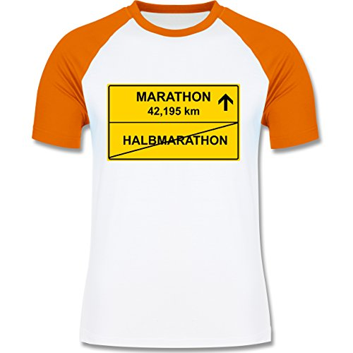 Laufsport - Marathon - zweifarbiges Baseballshirt für Männer Weiß/Orange