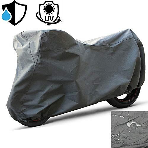 Pricekiller® - telo felpato coprimoto grigio in pvc impermeabile scooter moto per pioggia sole vento (xxl 255x130x110cm)