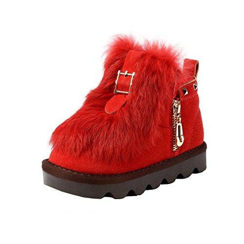 maxu Little Chaussures École pour fille fourrure chaud de coffre red