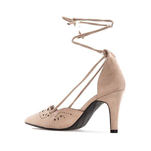 Andrés Machado.AM5178.Chaussures en Suèdine ajourées.Petites et Grandes Pointures 32/35-42/45 Beige