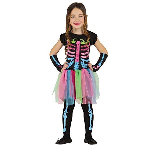 Imagen de disfraz infantil de esqueleto vestido esqueleto neón xs 104/116 cm años 3  4 traje de huesos para niña ropa con anatomía vestimenta halloween disfraces carnavalera ósea
