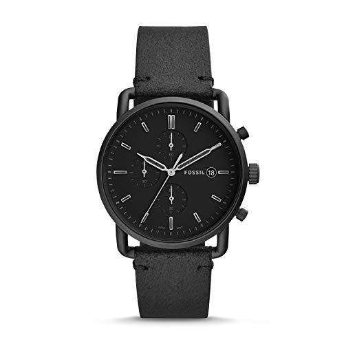 Fossil Herren Chronograph Quarz Uhr mit Leder Armband FS5504