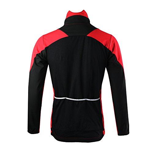 M. Baxter - Maglia invernale per ciclismo trekking maglia sportiva a maniche lunghe giacca a vento calda da uomo rosso