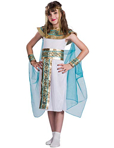 A&J DESIGN Mädchen Ägyptisch Königin des Nils Kleopatra Kinderkostüm Karneval (Weiß, M)